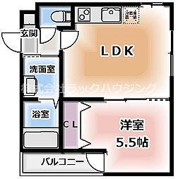 フジパレス守口 2階1LDKの間取り