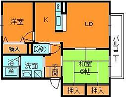 奈良県大和郡山市柳町の賃貸アパートの間取り