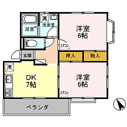 埼玉県熊谷市久下2丁目の賃貸アパートの間取り