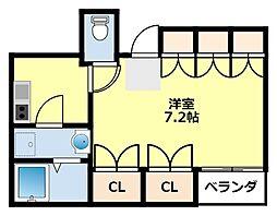 名鉄豊田線 黒笹駅 徒歩3分の賃貸マンション 4階1Kの間取り