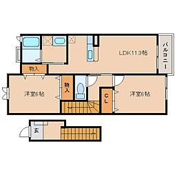 奈良県五條市二見2丁目の賃貸アパートの間取り