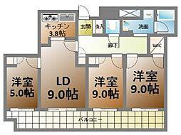 ローレルタワーサンクタス梅田[8階]の間取り