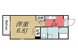 JR総武線 稲毛駅 徒歩3分の賃貸マンション 2階1Kの間取り