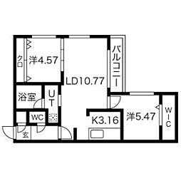 札幌市電2系統 西線11条駅 徒歩7分の賃貸マンション 3階2LDKの間取り
