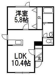 北海道札幌市手稲区西宮の沢二条4の賃貸アパートの間取り