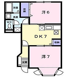 グランメール2[1階]の間取り