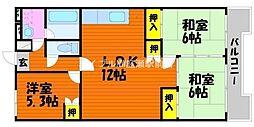 岡山県岡山市北区白石西新町の賃貸マンションの間取り