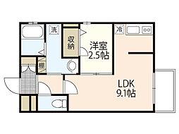 JR山陽本線 西広島駅 徒歩22分の賃貸マンション 2階1LDKの間取り