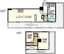 Imperial Suite 南堀江(インペリアルスイート南堀江) 13階2LDKの間取り