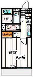 埼玉高速鉄道 南鳩ヶ谷駅 徒歩15分の賃貸マンション 3階1Kの間取り