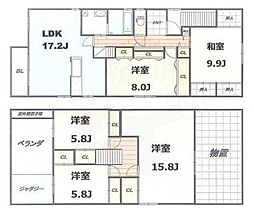 Osaka Metro中央線 朝潮橋駅 徒歩7分の賃貸一戸建て 3階5LDKの間取り