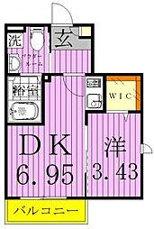 プラーナ八潮 2階1DKの間取り