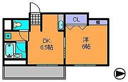 近鉄奈良線 生駒駅 徒歩5分の賃貸マンション 2階1LDKの間取り