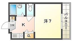 メゾン・ドゥ・タナカ 3階1Kの間取り