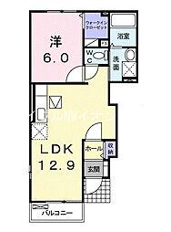 JR宇野線 早島駅 徒歩15分の賃貸アパート 1階1LDKの間取り