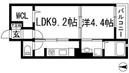 大阪府池田市神田3丁目の賃貸マンションの間取り