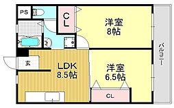 村野出戸マンション[4O4号室号室]の間取り
