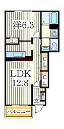 ヒルサイドコートA[1階]の間取り