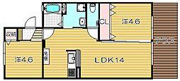 大阪府高槻市城南町3丁目の賃貸アパートの間取り