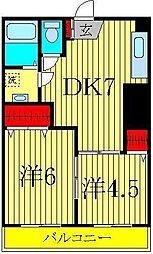 タウンハイツ2号棟[3階]の間取り