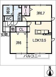 セジュール城西 B棟[2階]の間取り
