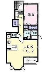 KS ハウス D 1階1LDKの間取り