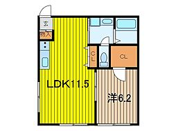 埼玉県さいたま市浦和区皇山町の賃貸アパートの間取り