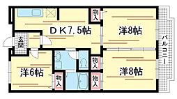 兵庫県神戸市北区山田町小部の賃貸マンションの間取り