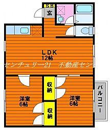 JR山陽本線 西川原駅 徒歩4分の賃貸アパート 2階2LDKの間取り