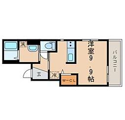 JR山手線 目黒駅 徒歩8分の賃貸マンション 2階ワンルームの間取り