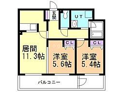 ALPHA STAGE Sapporo 2階2LDKの間取り