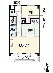 桜ハイツ平川[3階]の間取り