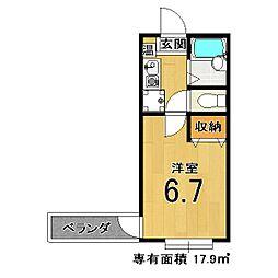 コットンハウスII[1-B号室]の間取り