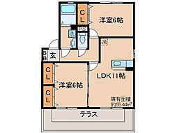 京都府京都市山科区東野中井ノ上町の賃貸アパートの間取り