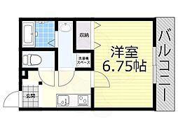 阪神本線 大物駅 徒歩8分の賃貸アパート 2階1Kの間取り