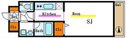 東京メトロ東西線 南砂町駅 徒歩15分の賃貸マンション 4階1Kの間取り