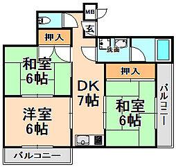 兵庫県伊丹市昆陽2丁目の賃貸マンションの間取り