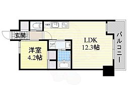 レジディア千里藤白台 3階1LDKの間取り