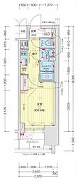 名古屋市営名城線 東別院駅 徒歩3分の賃貸マンション 5階1Kの間取り