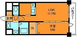 Gloria 6階1LDKの間取り