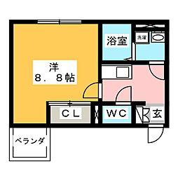 アーバンフォレ青井 2階1Kの間取り