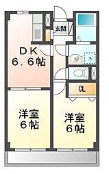 滋賀県大津市下阪本1丁目の賃貸アパートの間取り