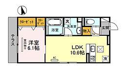 Osaka Metro谷町線 天神橋筋六丁目駅 徒歩3分の賃貸アパート 1階1LDKの間取り