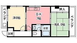 兵庫県西宮市瓦林町の賃貸マンションの間取り