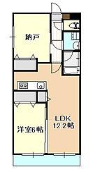 岡山電気軌道東山本線 東山・おかでんミュージアム駅駅 徒歩14分の賃貸マンション 3階2LDKの間取り