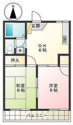 東京都調布市多摩川7丁目の賃貸アパートの間取り
