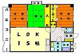 福岡県福岡市東区香椎駅前2丁目の賃貸マンションの間取り