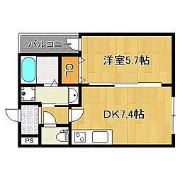 アッシュメゾン加美正覚寺4 2階1DKの間取り