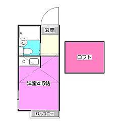 埼玉県新座市栗原2丁目の賃貸アパートの間取り