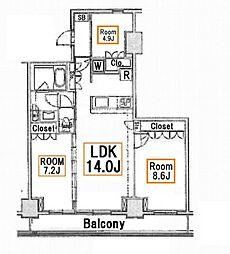 アパートメンツ東雲キャナルコート[4階]の間取り